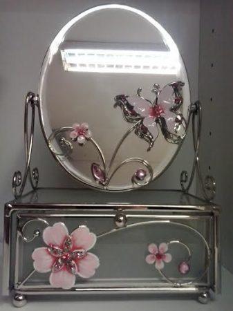 Fiókos tükrös kis pipereasztal /Pillangós/