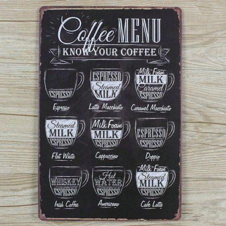 fém kép coffe menű