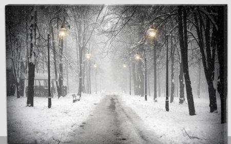 Téli út világító kép