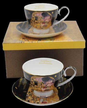 Klimt teás csésze kistányérral