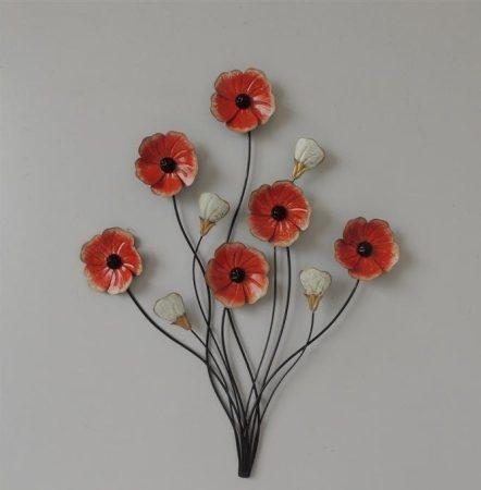 Fém fali dísz  / piros virág/