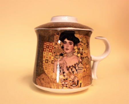 Klimt teás csésze szűrővel díszdobozban