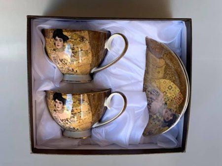 Klimt teás csészét tányérral díszdobozban