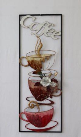 Fém fali dísz: coffee