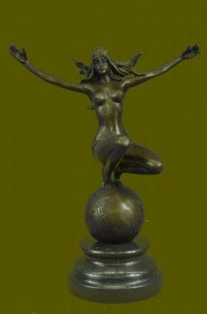 Atlasz nőalak bronz szobor