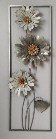 Fém fali dísz :  virágok
