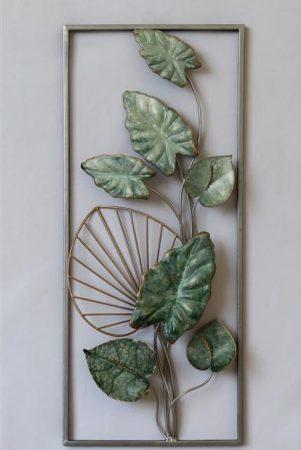Fém fali dísz :Zöld virágok