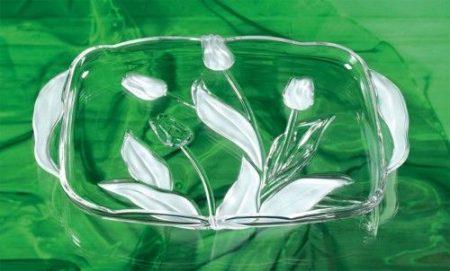 Walterglass tulipános üveg tál